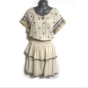 Blue Rain Beige Tiered Embroidered Dress Small